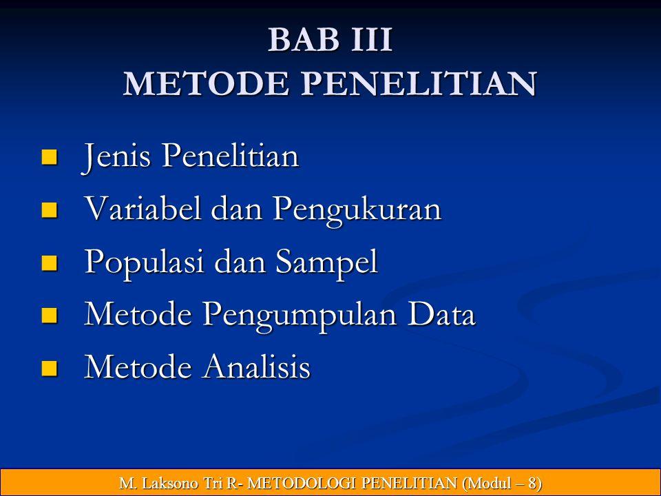 BAB III METODE PENELITIAN Jenis Penelitian Jenis Penelitian Variabel dan Pengukuran Variabel dan Pengukuran Populasi dan Sampel Populasi dan Sampel Metode Pengumpulan Data Metode Pengumpulan Data Metode Analisis Metode Analisis M.