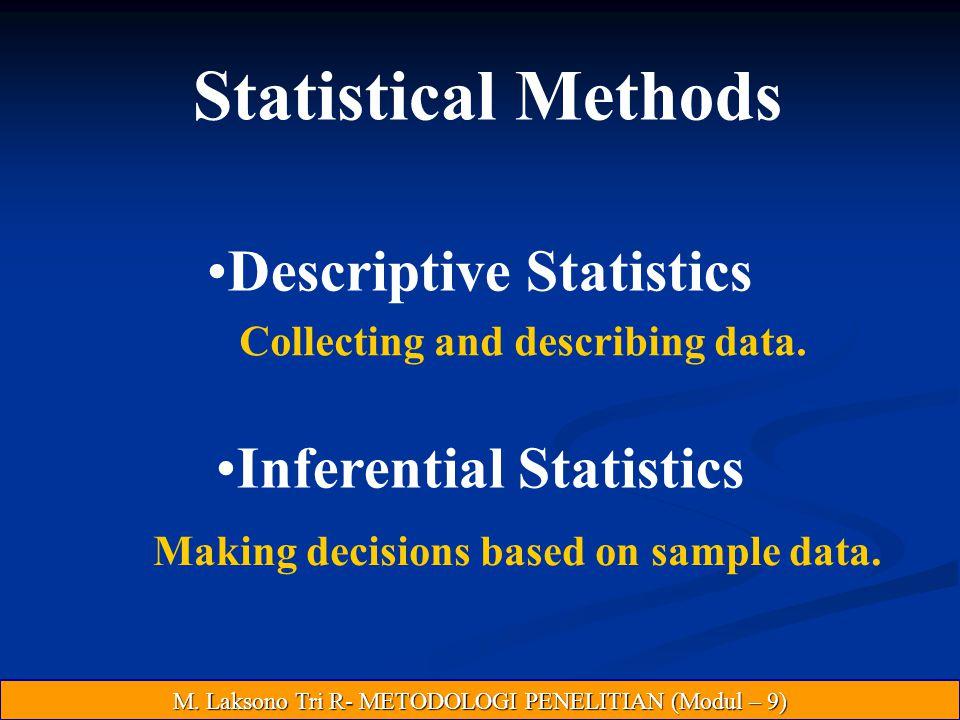 Statistical Methods Descriptive Statistics Inferential Statistics Collecting and describing data.