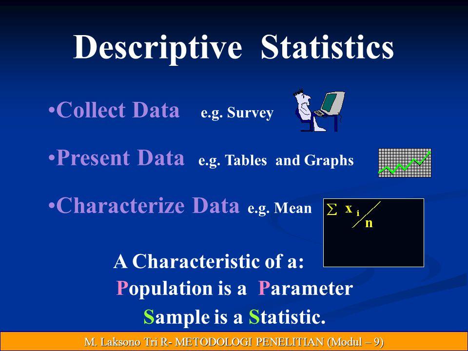 Descriptive Statistics Collect Data e.g.Survey Present Data e.g.