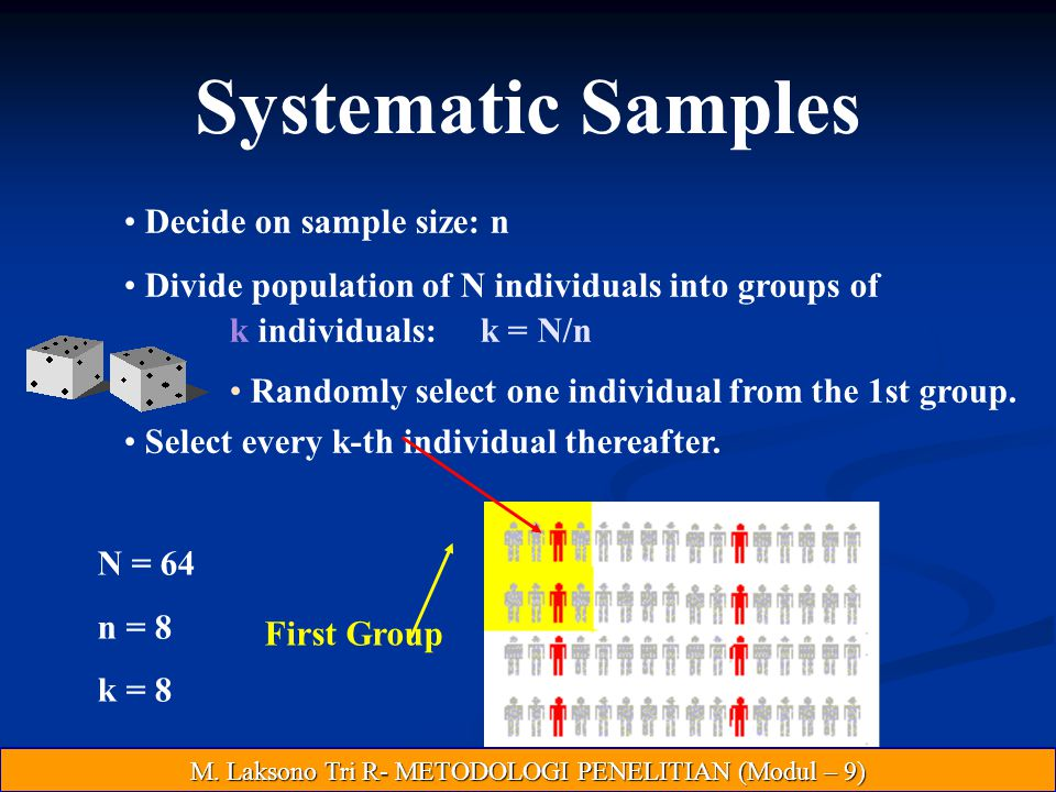 Systematic Samples Decide on sample size: n Divide population of N individuals into groups of k individuals: k = N/n Randomly select one individual from the 1st group.