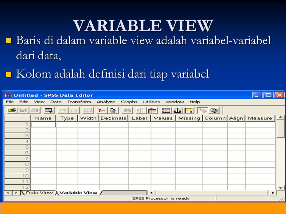 VARIABLE VIEW Baris di dalam variable view adalah variabel-variabel dari data, Baris di dalam variable view adalah variabel-variabel dari data, Kolom adalah definisi dari tiap variabel Kolom adalah definisi dari tiap variabel