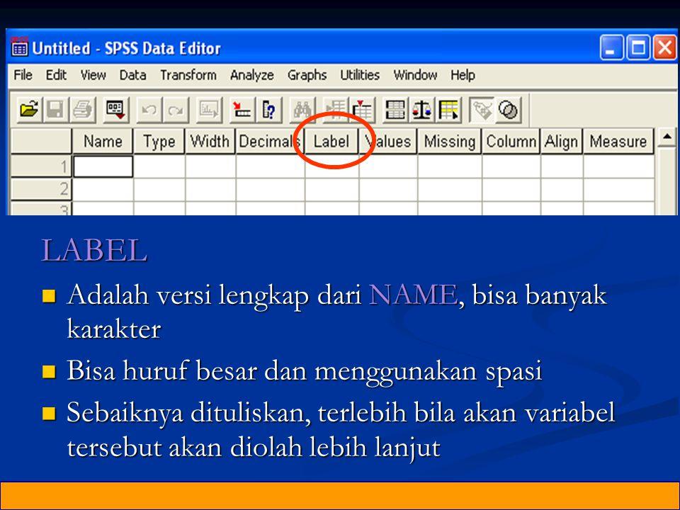 LABEL Adalah versi lengkap dari NAME, bisa banyak karakter Adalah versi lengkap dari NAME, bisa banyak karakter Bisa huruf besar dan menggunakan spasi Bisa huruf besar dan menggunakan spasi Sebaiknya dituliskan, terlebih bila akan variabel tersebut akan diolah lebih lanjut Sebaiknya dituliskan, terlebih bila akan variabel tersebut akan diolah lebih lanjut