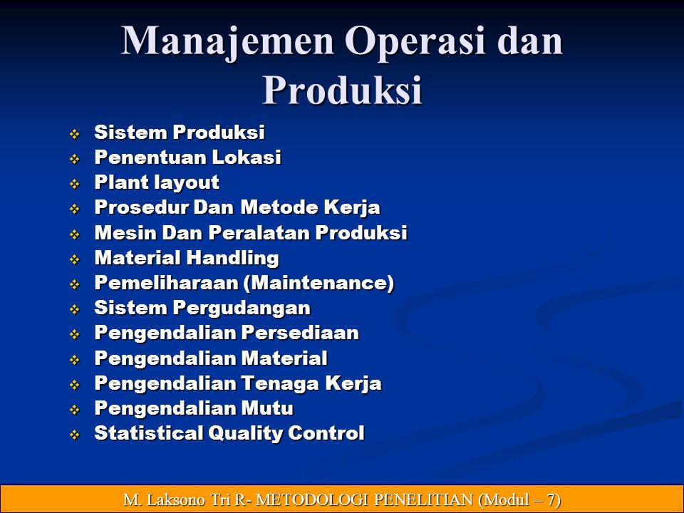 Manajemen Operasi dan Produksi  Sistem Produksi  Penentuan Lokasi  Plant layout  Prosedur Dan Metode Kerja  Mesin Dan Peralatan Produksi  Material Handling  Pemeliharaan (Maintenance)  Sistem Pergudangan  Pengendalian Persediaan  Pengendalian Material  Pengendalian Tenaga Kerja  Pengendalian Mutu  Statistical Quality Control M.