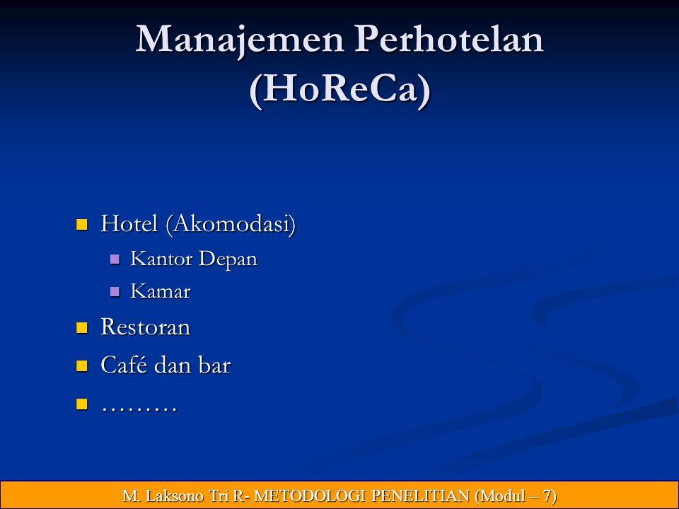 Manajemen Perhotelan (HoReCa) Hotel (Akomodasi) Hotel (Akomodasi) Kantor Depan Kantor Depan Kamar Kamar Restoran Restoran Café dan bar Café dan bar ……… ……… M.