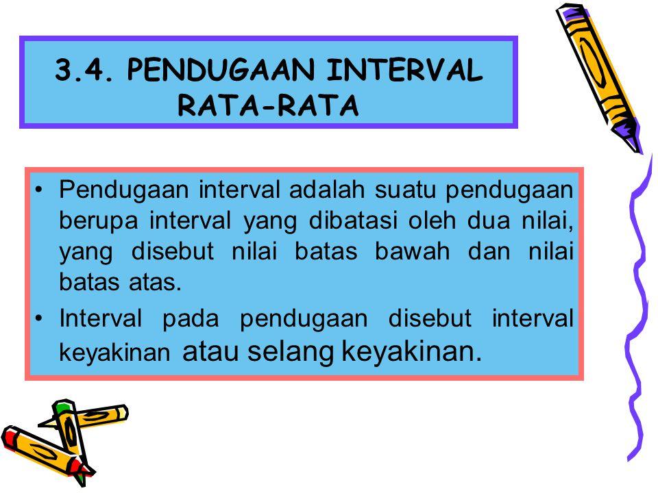 3.4. PENDUGAAN INTERVAL RATA-RATA Pendugaan interval adalah suatu pendugaan berupa interval yang dibatasi oleh dua nilai, yang disebut nilai batas baw