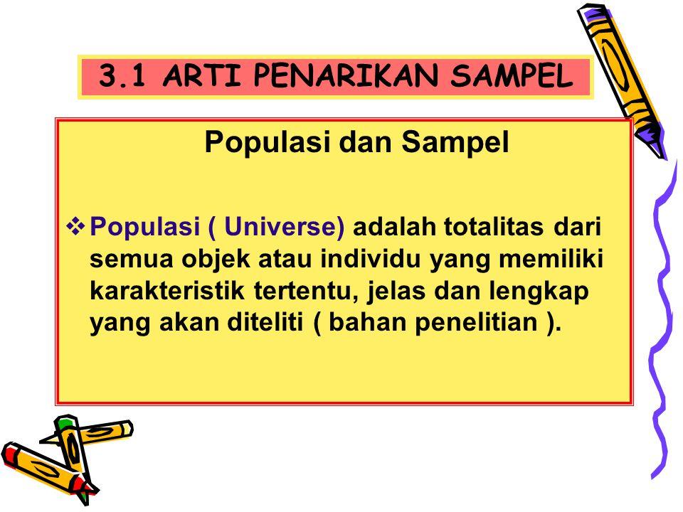 3.1 ARTI PENARIKAN SAMPEL Populasi dan Sampel  Populasi ( Universe) adalah totalitas dari semua objek atau individu yang memiliki karakteristik terte