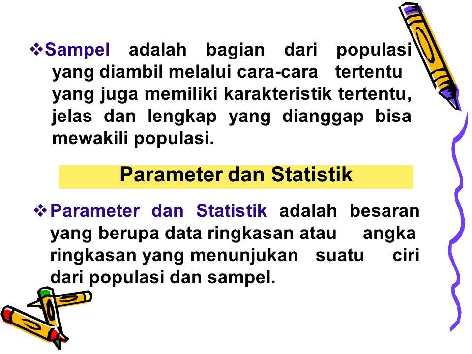 Parameter dan Statistik  Parameter dan Statistik adalah besaran yang berupa data ringkasan atau angka ringkasan yang menunjukan suatu ciri dari popul