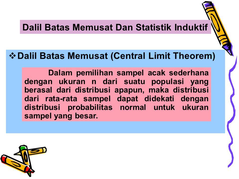  Statistik Induktif Statistik Induktif adalah pengambilan kesimpulan mengenai nilai sebenarnya dari parameter (yang dihitung berdasarkan populasi), yang didasarkan atas perhitungan sampel, sehingga kesimpulan tersebut bisa benar atau salah tergantung dari ada tidaknya kesalahan dalam penarikan sampel.