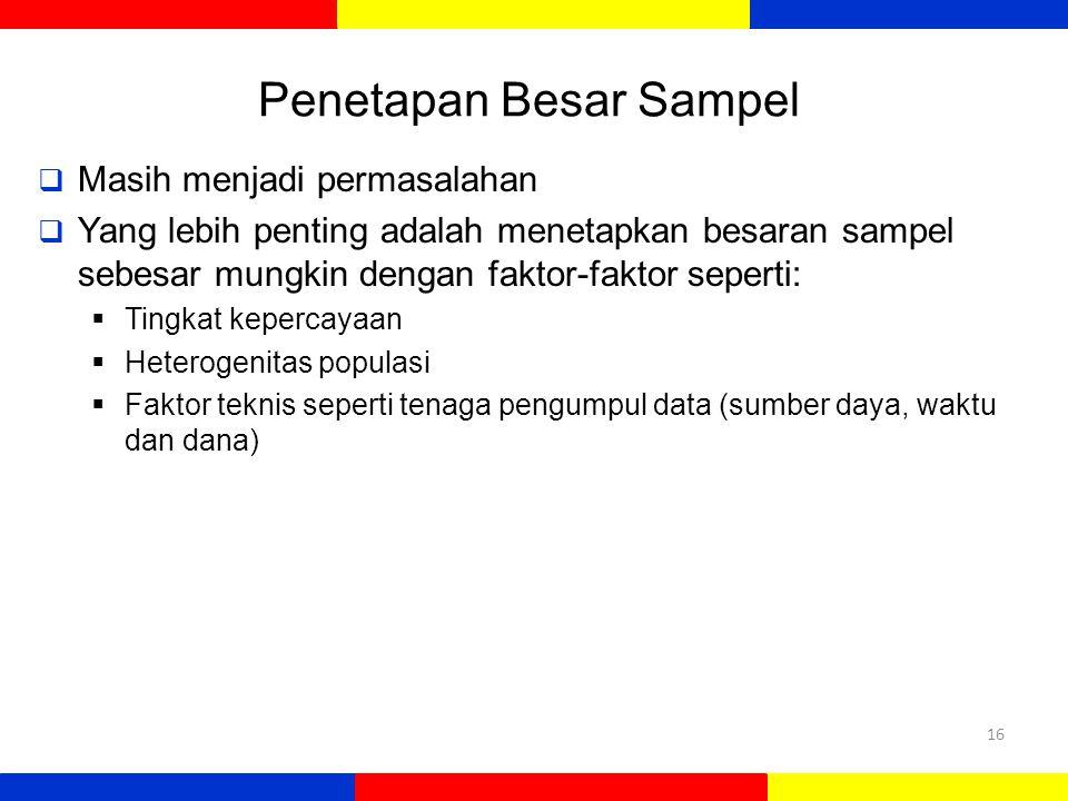 Penetapan Besar Sampel  Masih menjadi permasalahan  Yang lebih penting adalah menetapkan besaran sampel sebesar mungkin dengan faktor-faktor seperti