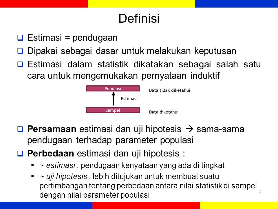 Definisi  Estimasi = pendugaan  Dipakai sebagai dasar untuk melakukan keputusan  Estimasi dalam statistik dikatakan sebagai salah satu cara untuk m