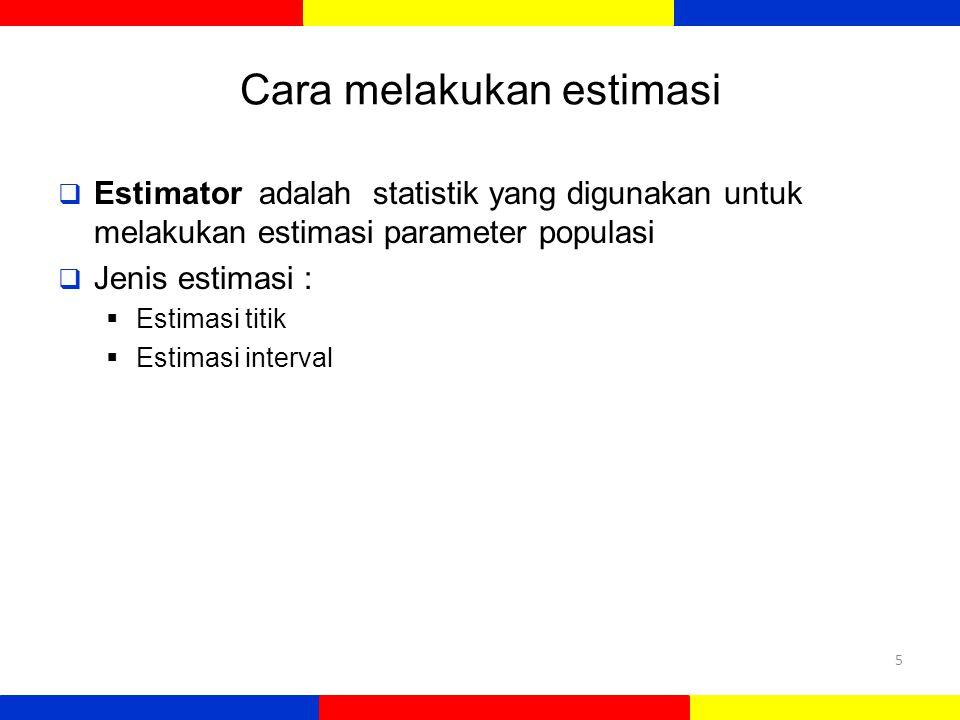 Cara melakukan estimasi  Estimator adalah statistik yang digunakan untuk melakukan estimasi parameter populasi  Jenis estimasi :  Estimasi titik 