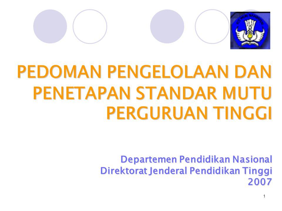 2 PPSM-PT = STANDAR NASIONAL PENDIDIKAN (SNP) SNP meliputi 8 (delapan) jenis standar, sebagaimana ditetapkan dalam Pasal 2 Ayat (1) PP.No.19 Tahun 2005 Tentang SNP, yaitu: Standar isi; Standar proses; Standar kompetensi lulusan; Standar pendidik dan tenaga kependidikan; Standar sarana dan prasarana; Standar pengelolaan; Standar pembiayaan; dan Standar penilaian pendidikan.