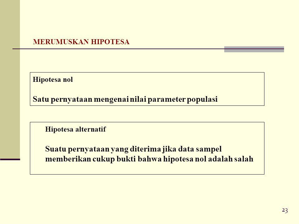 23 MERUMUSKAN HIPOTESA Hipotesa nol Satu pernyataan mengenai nilai parameter populasi Hipotesa alternatif Suatu pernyataan yang diterima jika data sampel memberikan cukup bukti bahwa hipotesa nol adalah salah