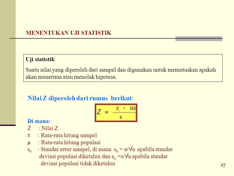 27 MENENTUKAN UJI STATISTIK Uji statistik Suatu nilai yang diperoleh dari sampel dan digunakan untuk memutuskan apakah akan menerima atau menolak hipotesa.