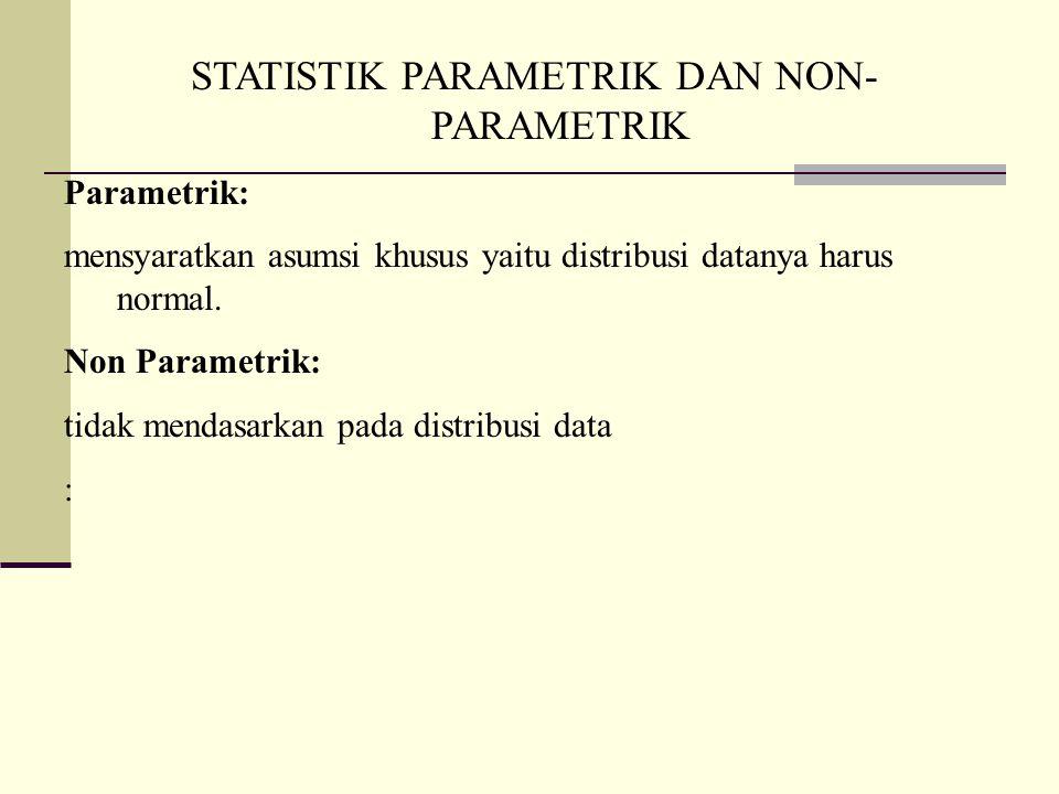 STATISTIK PARAMETRIK DAN NON- PARAMETRIK Parametrik: mensyaratkan asumsi khusus yaitu distribusi datanya harus normal.