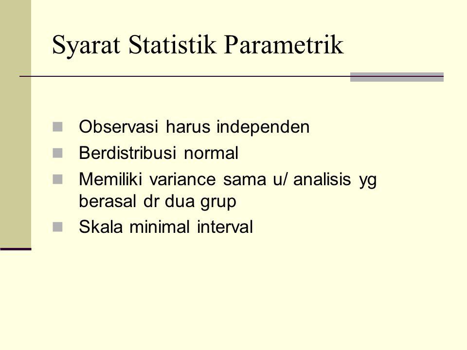 Syarat Statistik Parametrik Observasi harus independen Berdistribusi normal Memiliki variance sama u/ analisis yg berasal dr dua grup Skala minimal interval
