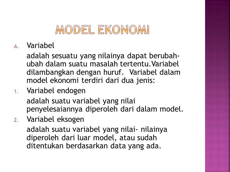  Model ekonomi adalah penyederhanaan hubungan antar variabel.  Model ekonomi berbentuk model matematika yang terdiri dari jumlah variabel, konstanta