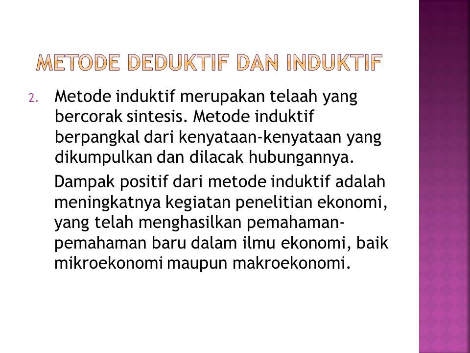 1. Metode deduktif merupakan telaah yang bercorak analitis. Metode deduktif berpangkal pada beberapa dalil atau hipotesis. Kemudian dalil itu diujicob