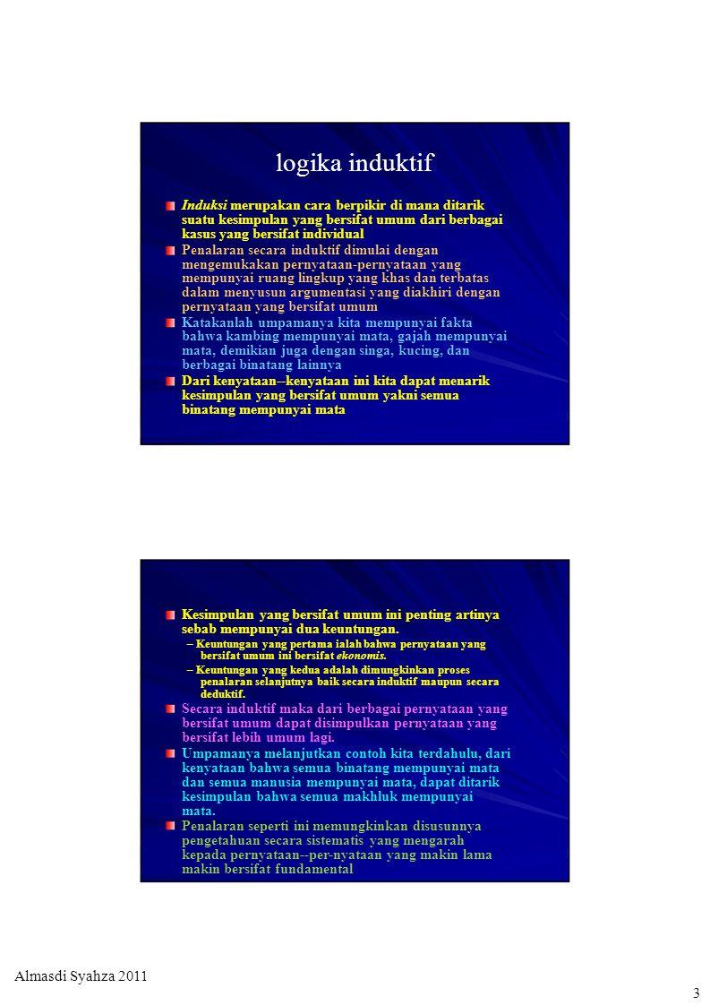 logika induktif Induksi merupakan cara berpikir di mana ditarik suatu kesimpulan yang bersifat umum dari berbagai kasus yang bersifat individual Penal