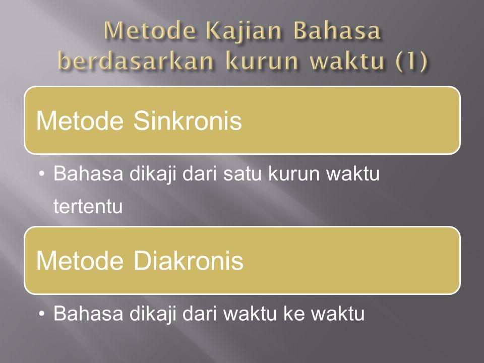 Metode Sinkronis Bahasa dikaji dari satu kurun waktu tertentu Metode Diakronis Bahasa dikaji dari waktu ke waktu