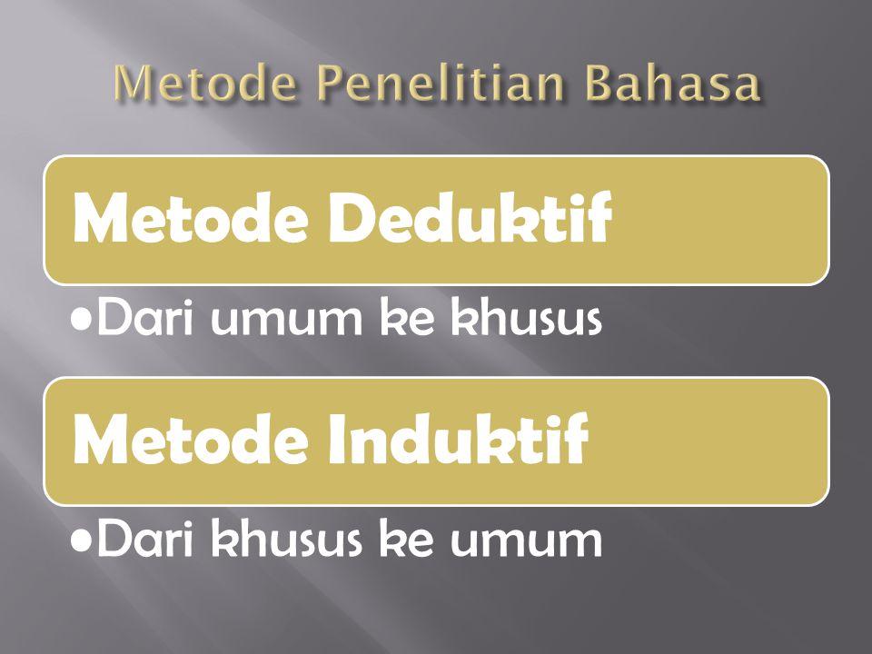 Metode Deduktif Dari umum ke khusus Metode Induktif Dari khusus ke umum