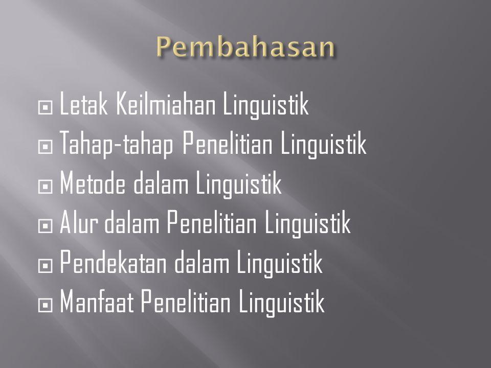  Letak Keilmiahan Linguistik  Tahap-tahap Penelitian Linguistik  Metode dalam Linguistik  Alur dalam Penelitian Linguistik  Pendekatan dalam Linguistik  Manfaat Penelitian Linguistik