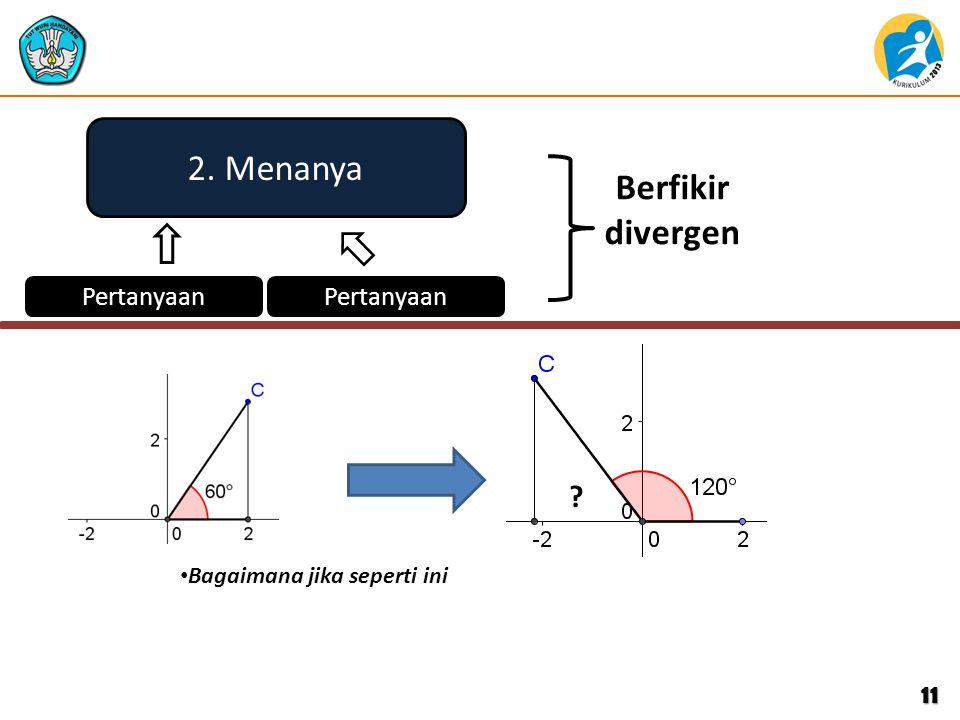 11 2. Menanya Pertanyaan Berfikir divergen ? Bagaimana jika seperti ini