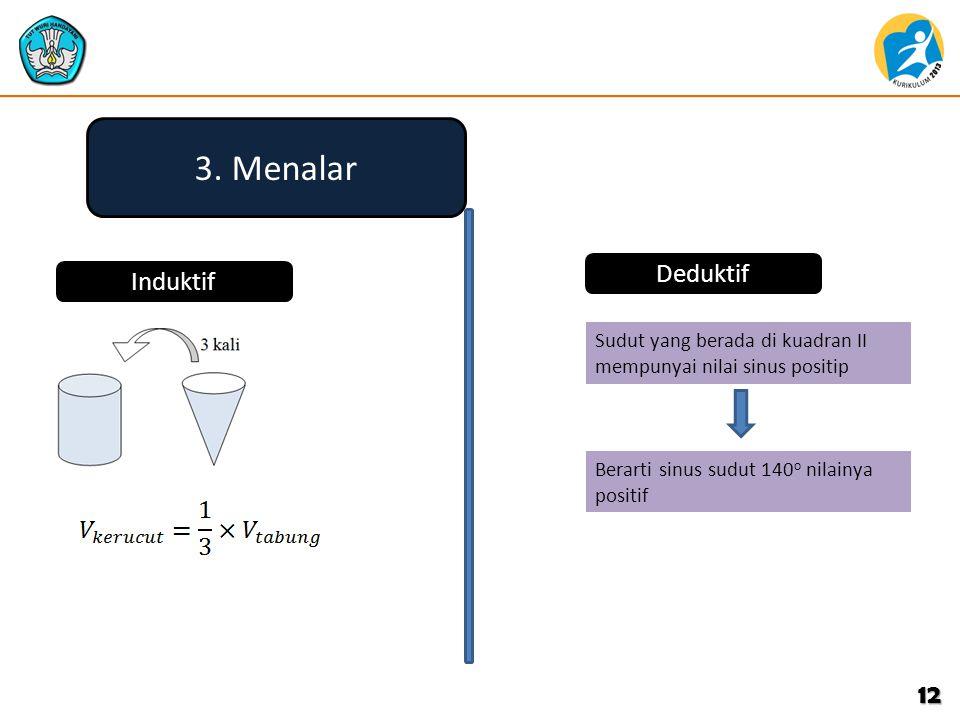 12 3. Menalar Induktif Deduktif Sudut yang berada di kuadran II mempunyai nilai sinus positip Berarti sinus sudut 140 o nilainya positif