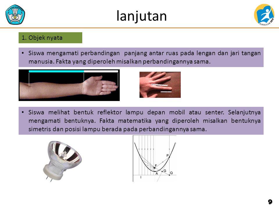 lanjutan 9 Siswa mengamati perbandingan panjang antar ruas pada lengan dan jari tangan manusia. Fakta yang diperoleh misalkan perbandingannya sama. 1.