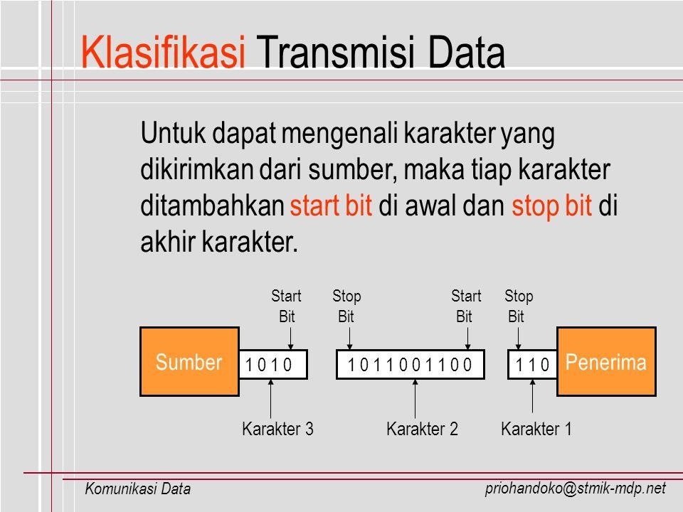 priohandoko@stmik-mdp.net Komunikasi Data Klasifikasi Transmisi Data Untuk dapat mengenali karakter yang dikirimkan dari sumber, maka tiap karakter di