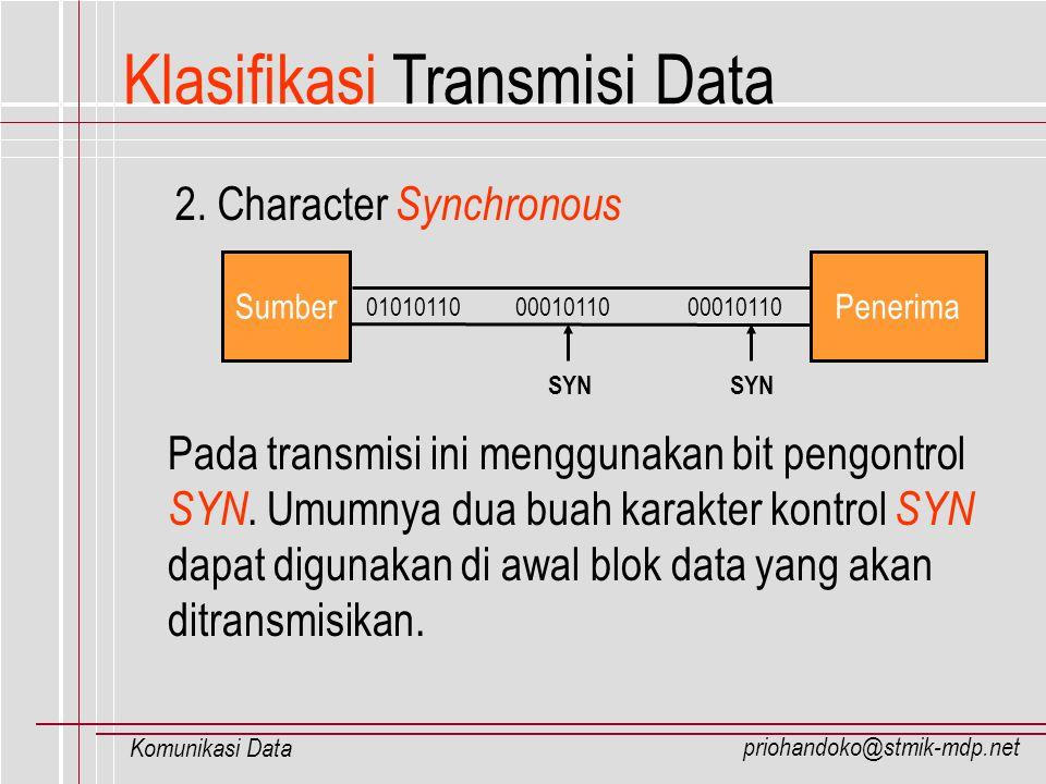 priohandoko@stmik-mdp.net Komunikasi Data Klasifikasi Transmisi Data 2. Character Synchronous 01010110 00010110 00010110 SumberPenerima SYN Pada trans