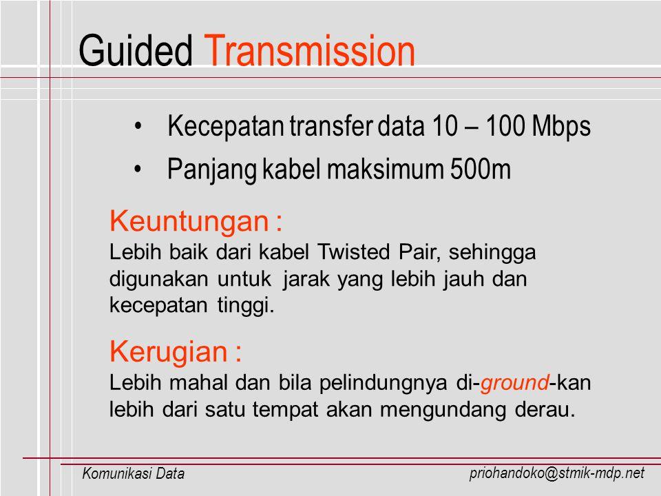 priohandoko@stmik-mdp.net Komunikasi Data Kecepatan transfer data 10 – 100 Mbps Panjang kabel maksimum 500m Keuntungan : Lebih baik dari kabel Twisted