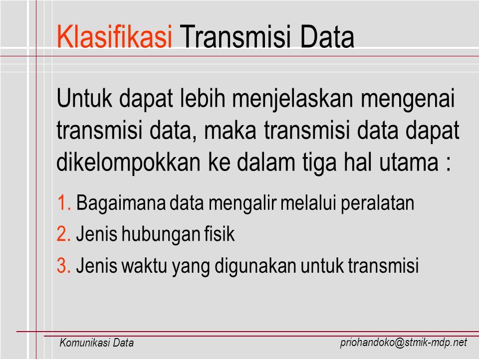 priohandoko@stmik-mdp.net Komunikasi Data Media Transmisi Data Berhasil atau tidaknya sebuah komunikasi data dapat dipengaruhi oleh : Media transmisi yang digunakan Kapasitas saluran transmisi Tipe dari saluran transmisi Kode transmisi yang digunakan Protokol Penanganan kesalahan transmisi