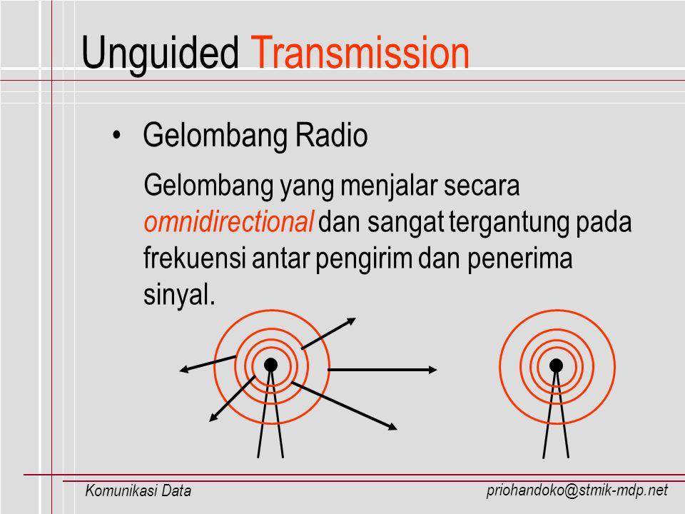 priohandoko@stmik-mdp.net Komunikasi Data Unguided Transmission Gelombang Radio Gelombang yang menjalar secara omnidirectional dan sangat tergantung p