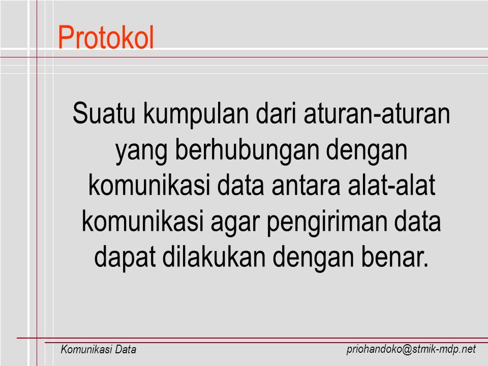 priohandoko@stmik-mdp.net Komunikasi Data Protokol Suatu kumpulan dari aturan-aturan yang berhubungan dengan komunikasi data antara alat-alat komunika