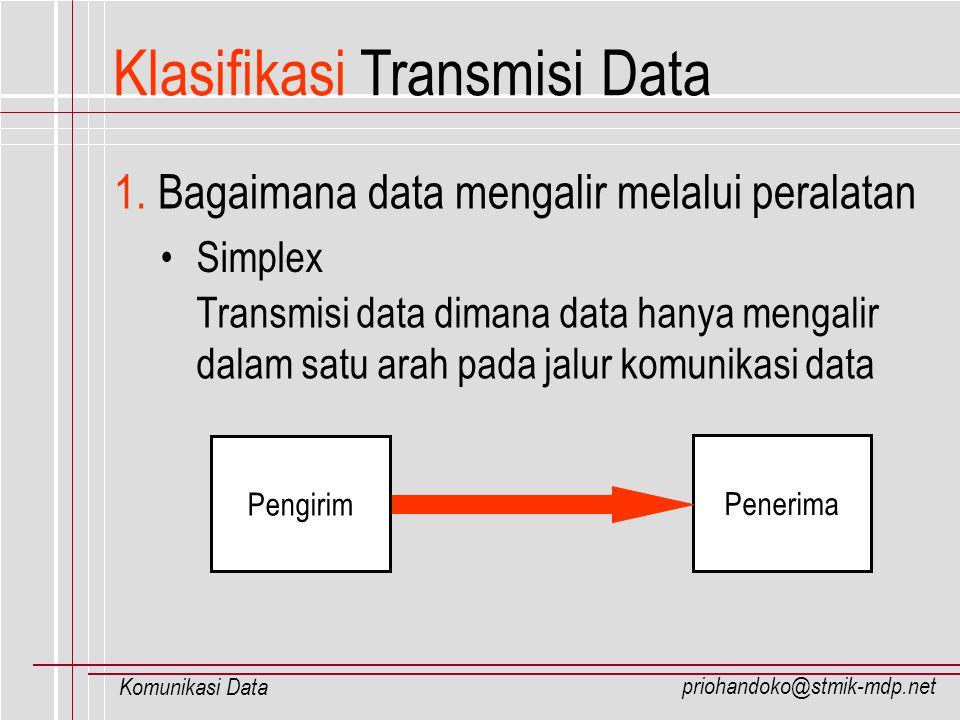 priohandoko@stmik-mdp.net Komunikasi Data Klasifikasi Transmisi Data Half-Duplex Transmisi data dimana data dapat mengalir dalam dua arah pada jalur komunikasi data, dengan kondisi saling bergantian Penerima Pengirim Penerima