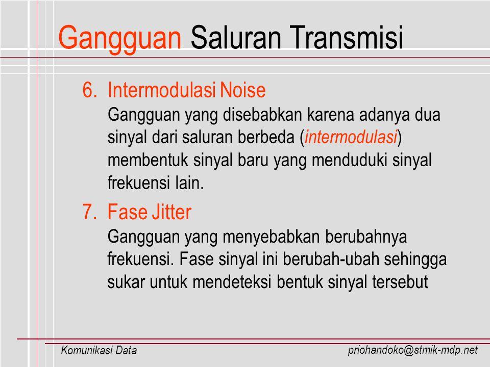 priohandoko@stmik-mdp.net Komunikasi Data 6. Intermodulasi Noise Gangguan yang disebabkan karena adanya dua sinyal dari saluran berbeda ( intermodulas