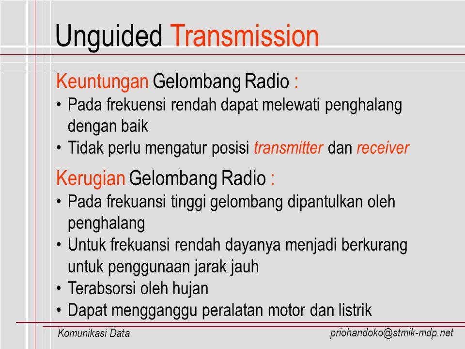 priohandoko@stmik-mdp.net Komunikasi Data Keuntungan Gelombang Radio : Pada frekuensi rendah dapat melewati penghalang dengan baik Tidak perlu mengatu