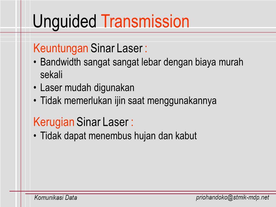 priohandoko@stmik-mdp.net Komunikasi Data Keuntungan Sinar Laser : Bandwidth sangat sangat lebar dengan biaya murah sekali Laser mudah digunakan Tidak