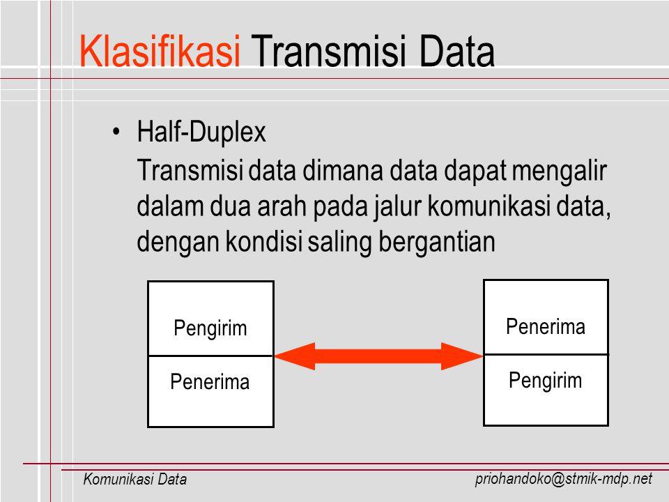 priohandoko@stmik-mdp.net Komunikasi Data Klasifikasi Transmisi Data Half-Duplex Transmisi data dimana data dapat mengalir dalam dua arah pada jalur k