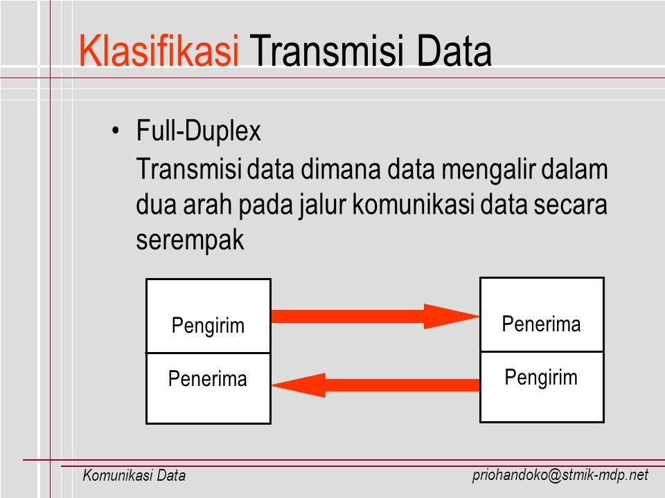 priohandoko@stmik-mdp.net Komunikasi Data Klasifikasi Transmisi Data Full-Duplex Transmisi data dimana data mengalir dalam dua arah pada jalur komunik