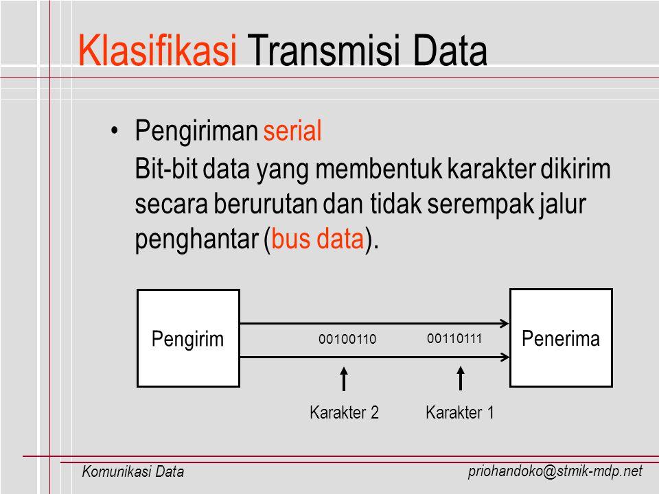 priohandoko@stmik-mdp.net Komunikasi Data Klasifikasi Transmisi Data Pengiriman serial Bit-bit data yang membentuk karakter dikirim secara berurutan d