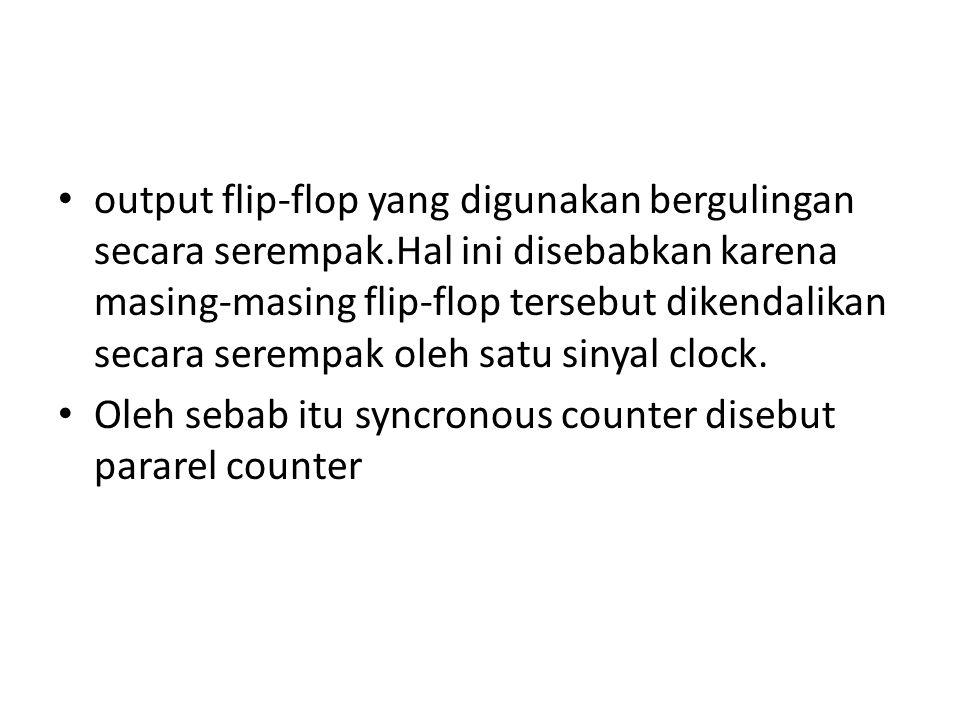 output flip-flop yang digunakan bergulingan secara serempak.Hal ini disebabkan karena masing-masing flip-flop tersebut dikendalikan secara serempak ol