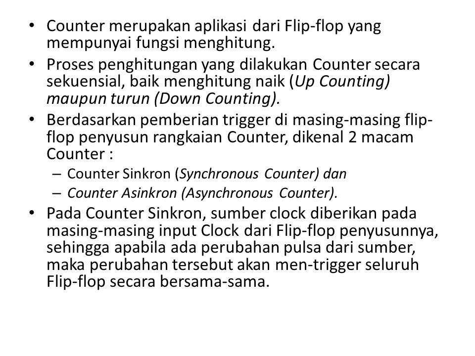 Counter merupakan aplikasi dari Flip-flop yang mempunyai fungsi menghitung. Proses penghitungan yang dilakukan Counter secara sekuensial, baik menghit