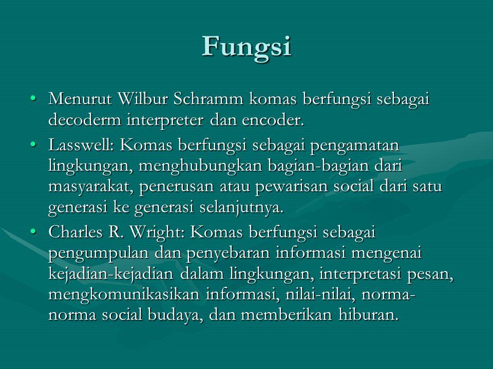Fungsi Menurut Wilbur Schramm komas berfungsi sebagai decoderm interpreter dan encoder.Menurut Wilbur Schramm komas berfungsi sebagai decoderm interpreter dan encoder.