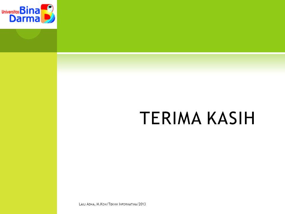 TERIMA KASIH L AILI A DHA, M.K OM /T EKNIK I NFORMATIKA /2013