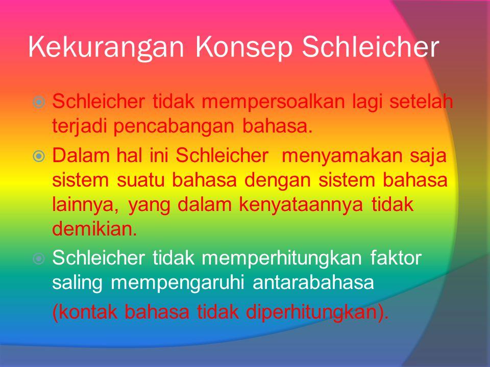 Kekurangan Konsep Schleicher  Schleicher tidak mempersoalkan lagi setelah terjadi pencabangan bahasa.  Dalam hal ini Schleicher menyamakan saja sist