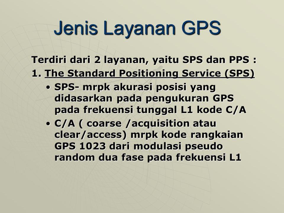 Jenis Layanan GPS Terdiri dari 2 layanan, yaitu SPS dan PPS : 1.