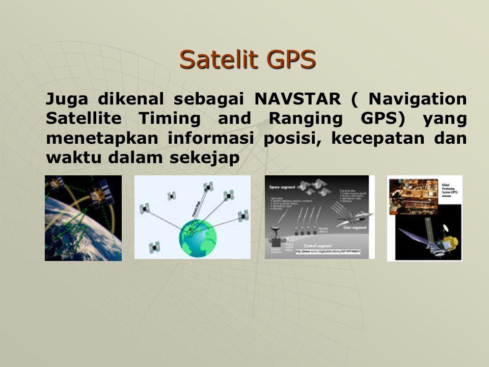 Satelit GPS Juga dikenal sebagai NAVSTAR ( Navigation Satellite Timing and Ranging GPS) yang menetapkan informasi posisi, kecepatan dan waktu dalam sekejap