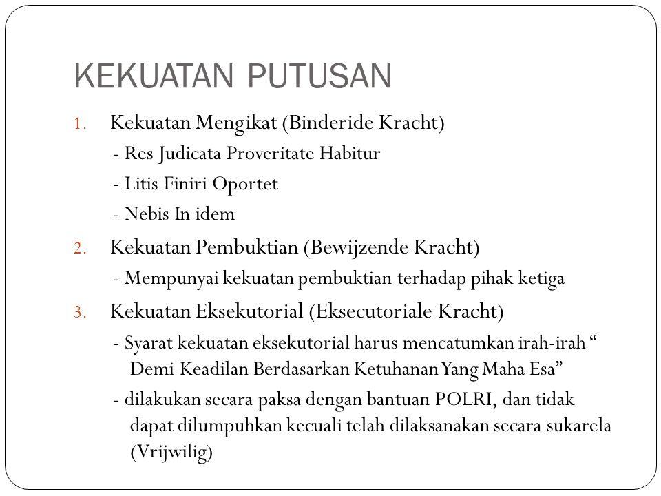 KEKUATAN PUTUSAN 1. Kekuatan Mengikat (Binderide Kracht) - Res Judicata Proveritate Habitur - Litis Finiri Oportet - Nebis In idem 2. Kekuatan Pembukt